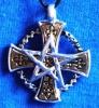 Anhänger-Amulett Gnostisch-keltisches Kreuz mit Pentagramm aus einer Zink Legierung, nickelfrei. Mit Baumwollband incl. Verschluss. Preis: 9,99 € Hier: Kreuz mit Pentagramm. Anhänger ca. 3 cm Durchmesser.
